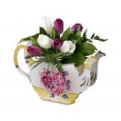 Afternoon Tea bordpynt til kagebord og pigefødselsdag - blomstervase i pap som bordpynt