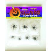 8 små spindelväv med spindlar