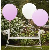 Runde kæmpe balloner i hvid og lyserød / Gigant ballon i lyserød og hvid