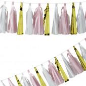 Lyserød, hvid og guld guirlande med kvaster til pynt, festpynt og ophæng