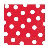 Röda servietter med vita prickar