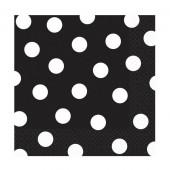 Svarta servietter med vita prickar