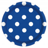 Blå papperstallrikar med vita prickar