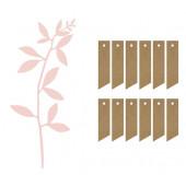 Bordkort og dekorationsgren (pink)