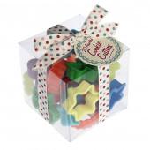 Æske med udstikkere med små julefigurer i plastik - Jule udstikkersæt med julefigurer