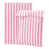 Pink stribede papirs godteposer og slikposer til børnefødselsdag