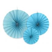 Pappersrosetter i blått och vitt