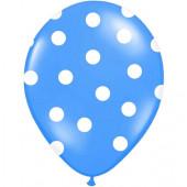 Blå ballonger med vita prickar