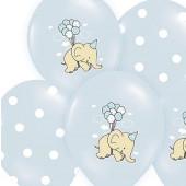 Blå ballonger med elefant och prickar