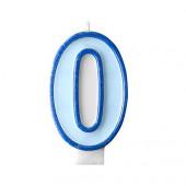 Födelsedagsljus - blått - tal 0