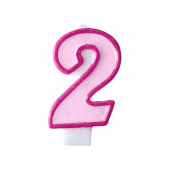 Födelsedagsljus - rosa - tal 2