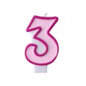 Födelsedagsljus - rosa - tal 3