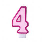Födelsedagsljus - rosa - tal 4