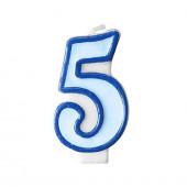 Födelsedagsljus - blått - tal 5
