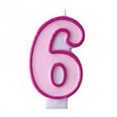 Födelsedagsljus - rosa - tal 6