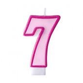 Födelsedagsljus - rosa - tal 7