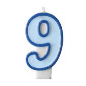 Födelsedagsljus - blått - tal 9