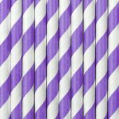 Papperssugrör - vita med lila ränder - 10 st
