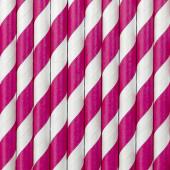Papperssugrör - vita med rosa ränder - 10 st