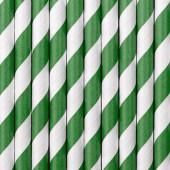 Papperssugrör - vita med gröna ränder - 10 st