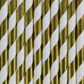 Papperssugrör - vita med guldränder - 10 st