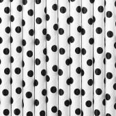 Papperssugrör - vitt med svarta prickar - 10 st