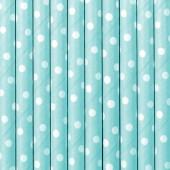 Papperssugrör - himmelsbå med vita prickar - 10 st
