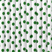 Papperssugrör - vita med gröna prickar - 10 st