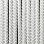 Papperssugrör - vita med silversicksack - 10 st
