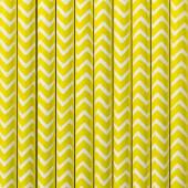 Papperssugrör - vita med gul sicksack - 10 st