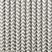 Papperssugrör - vita med grå sicksack - 10 st