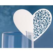 Vita vackra hjärtformade placeringskort till glas
