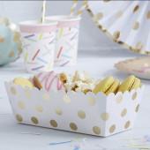 Snack brickor - vit med guld prickar