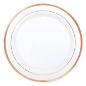 Premium plastik tallerkner i hvid med rosa guld kant