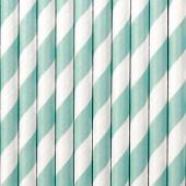 Papirsugerør hvide med sky-blå striber