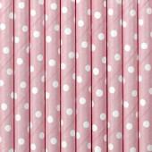 Papirsugerør pink med hvide prikker