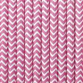 Papirsugerør hvide med pink zig zag