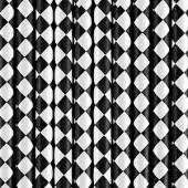 Papirsugerør sort med hvidt diamantmønster