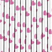 Papirsugerør hvide med pink hjerter