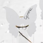 Sommerfugle bordkort til glas - hvide