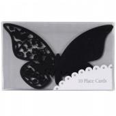 Svarta fjärilsplaceringskort till glaset