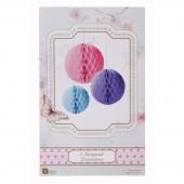 Pink, lilla og blå papirkugler og honeycombs til ophæng