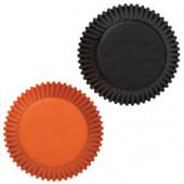 Svarta och orange muffinsformar