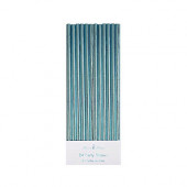 Ljusblå metallic papperssugrör