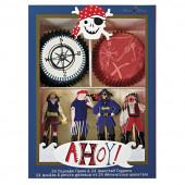 Sejt cupcake sæt til piratfest og sørøverfest