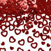 Røde konfetti hjerter (metallisk)