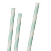 Papperssugrör - ljusgröna ränder - 30 st