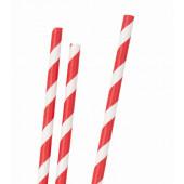 Randiga papperssugrör - röda ränder - 30 st