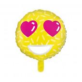 Emoji folie ballon med hjerte øjne