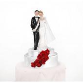 Bröllopsfigur med röda rosor